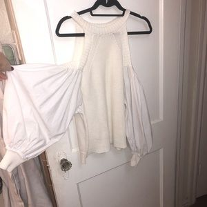 Free people white sweater off shoulder